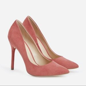 Despina Rosette Faux Suede Dark Blush Pink Pump